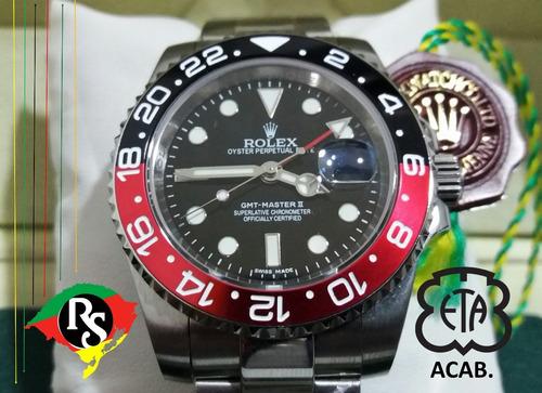 65caed7c284 Relogio Rolex Acab Eta Top Gmt Master Ii Coke Safira Lxrs