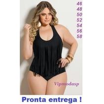 Maiô Franja 44 46 48 50 52 54 G Gg Xg Xxg Size Plus Biquine