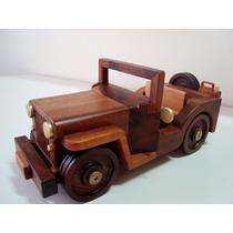 Carrinho Madeira Imbui Artesanato Jeep Jipe Antigo