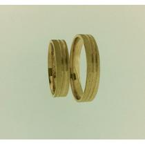 Par De Alianças Em Ouro 18k 0.750 4mm 7 Gramas O Par