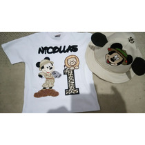 Camiseta Personalizada +chapeu Mickey Safari
