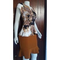Conjunto Moda Evangelica Executiva Social Saia+blusa Renda