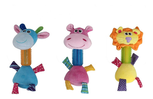 Kit 3 Brinquedos De Pelúcia C/ Mordedor Coleção Pawise