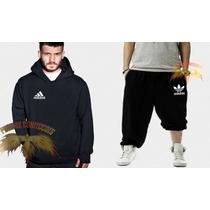 Conjunto Adidas - Calça + Blusa Moletom Canguru- Customizada