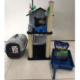 Arranhador De Gato Kit Completo Casa Rede Cama Varias Cores