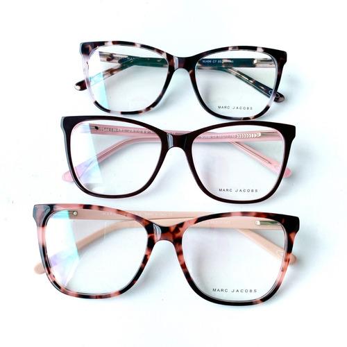 9ec00fe776f45 Armação De Grau Óculos Gatinho Quadrado Feminino Acetato