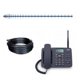 Kit Celular Rural Telefone 2 Chip Cabo 20m  Antena 22dbi