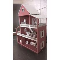 Casa De Boneca Pintada Mdf Brinquedo 15 Peça Moveis Miniatur