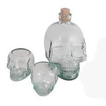 Kit Garrafa + 2 Copos Caveira - Cranios Ossos Drinks Taças