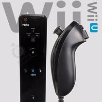 Controles Remote E Nunchuck Pretos Para Nintendo Wii Wii-u !