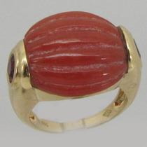 10616 Anel Com Pedra De Coral E Com Pedras Rubis De Ouro Y