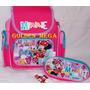 Mochila Pré Escola + Estojo 2 Compartimentos Minnie Disney