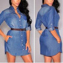 Camisão Vestido Jeans Feminino