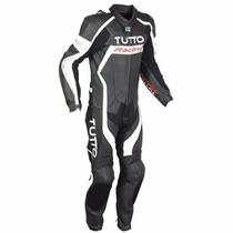 Macacão Tutto Moto Racing 1 Peça Preto / Branco / Prata