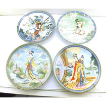 Quatro Pratos Japoneses De Porcelana Pintados A Mão B2134