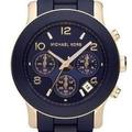 Maravilhoso Relógio Mk Azul E Dourado Leilão Loucura!