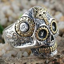 Anel Caveira Mexicana Em Prata 925 E Ouro
