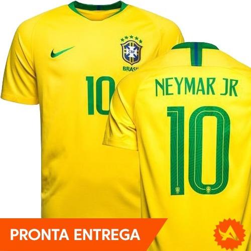 21769c2496 Camisa Seleção Brasileira Nike Amarela 2018 - Nº10 Neymar Jr - R ...