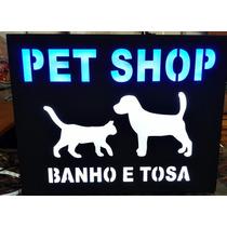 Placa Em Mdf Com Led Rgb / Personalizadas Decoração Pet Shop