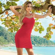 Vestido Balada Panicat Tubinho Viscose Com Tule Vermelho