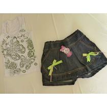 Conjunto Short Saia Jeans Com Blusinha Tam M Infantil