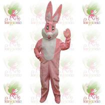 Coelho Cabeção Mascote Em Pelúcia Roupa Fantasia Rosa Páscoa