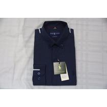 Camisa Social Masculina Polo Rauph Lauren, Core Azul Escuro