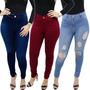 Kit 3 Calças Jeans Feminina Cintura Alta Hotpants Lycra Slim