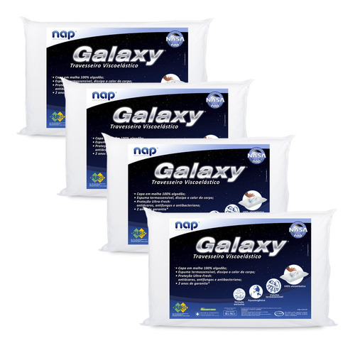 Kit 4 Travesseiros Nasa Nap Galaxy Viscoelástico