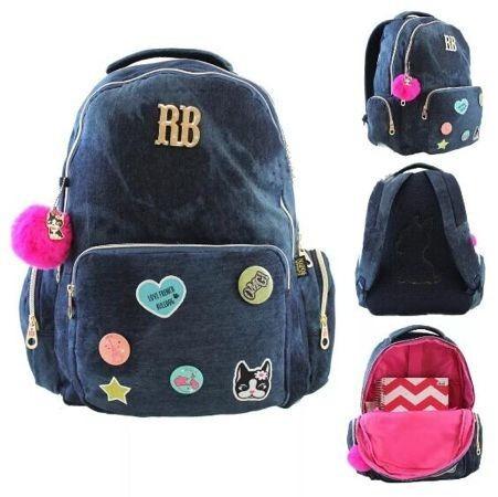 6723694eb Mochila Jeans Escolar Clio Rebeca Bonbon Patches Rb9139 à venda em ...