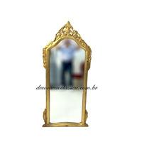 Espelho Clássico Moldura Em Madeira Entalhada E Folheada