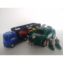 Kit Carro Força Tarefa C/ 2 Bonecos + Cegonheira C/ 2 Carros