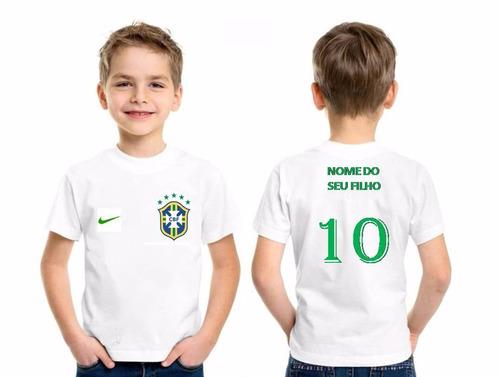 Camiseta Brasil Personalizada Infantil Com Nome Copa - R  19 en ... fa86ea77e5471