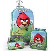 3pcs Mochila Lancheira Estojo Meninos Angry Birds