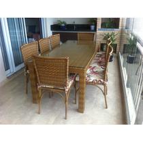 Mesa Olanda Com 8 Cadeiras Em Aluminio Com Fibra Sintetica