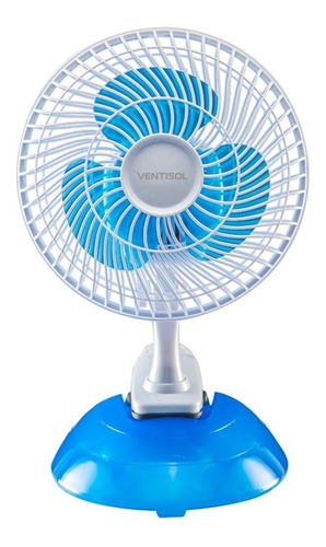 Ventilador De Mesa Ventisol Mini Branco E Pás De Cor Azul, 20cm De Diâmetro 127v