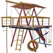 Playground Em Madeira C/ 13 Brinquedos
