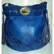 Bolsa Carmen Steffens Azul Royal E Franjas Couro Legítimo