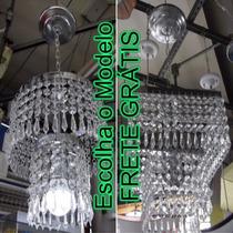 Lustre Sala Cristal Acrílico Redondo Quadrado 2 Camadas 1 L.