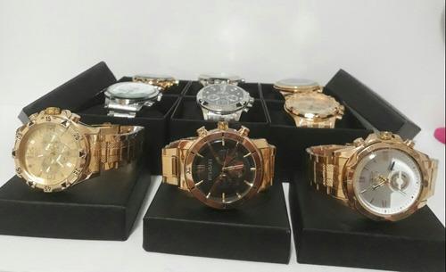 7df98552eb5 Kit Com 5 Relógios Masculino Dourado+ Caixa Atacado. R  120