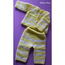 Conjunto Com: Casaquinho E Calça Em Tricot Manual