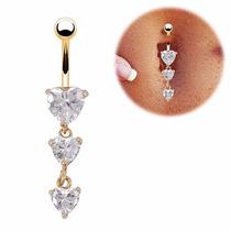 Piercing Umbigo De Coração-aço Cirúrgico316l-banhado Ouro18k