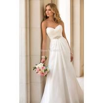 Vestido De Noiva Chiffon Luxo Importado Pronta Entrega