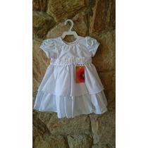 Vestido Infantil/ Bebê Batizado Bordado Pérolas Tam P,m,g