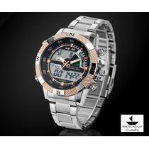 Relógio Sport Weide Dourado Digital/analógico Pulseira Aço