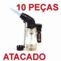 10 Peças Mini Maçarico Isqueiro Recarregavel Chama Regulavel