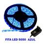 Fita Super Led 5050 Azul 300 Leds 5m   Fonte Grátis