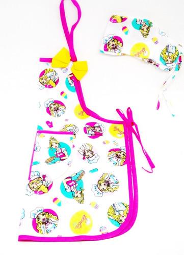 2afe3206544cf Kit Avental Infantil Touca Cozinha Escolinha Barbie Chef à venda em ...