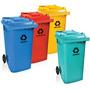 Frete Gratis Conteiner Lixo 240 Litros C/ Rodas - Colorido