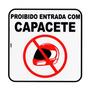 Placa Sinalizadora Auto-adesiva Proibido Capacete 20x20cm